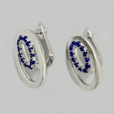 Срібні сережки з синіми камінчиками АМ-1155075с