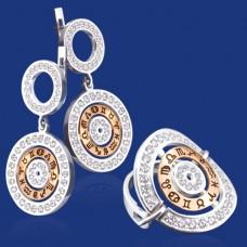 Срібний гарнітур з золотом бц-022