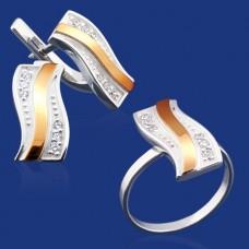 Срібний гарнітур з золотом бц-035