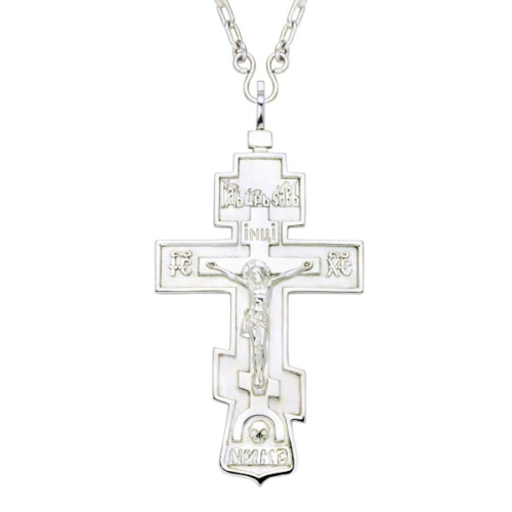 Крест наперсный комбинированный из серебра и латуни с цепью 2.10.0010КЛ10Л