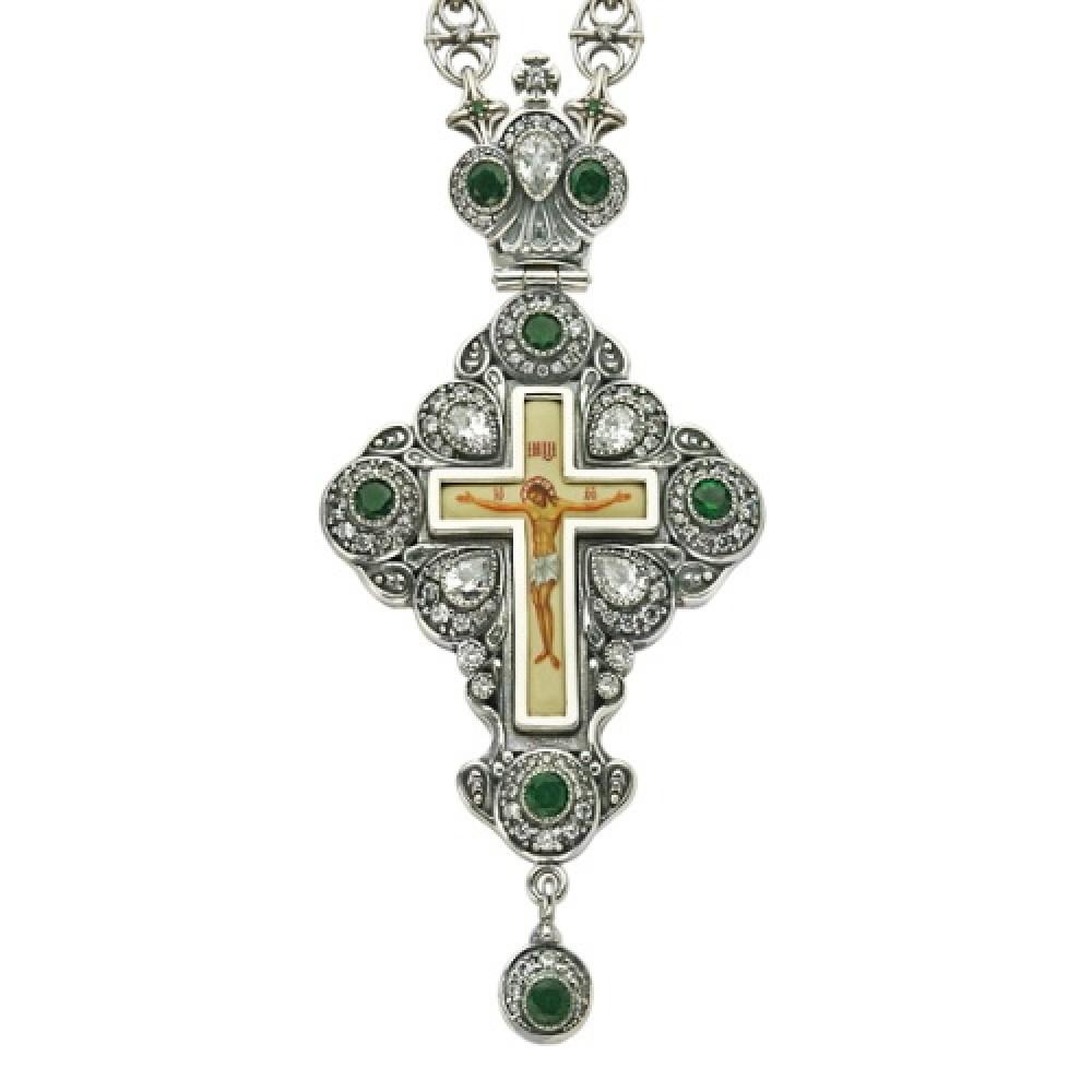 Крест наперсный серебряный с цепью 2.10.0081-244