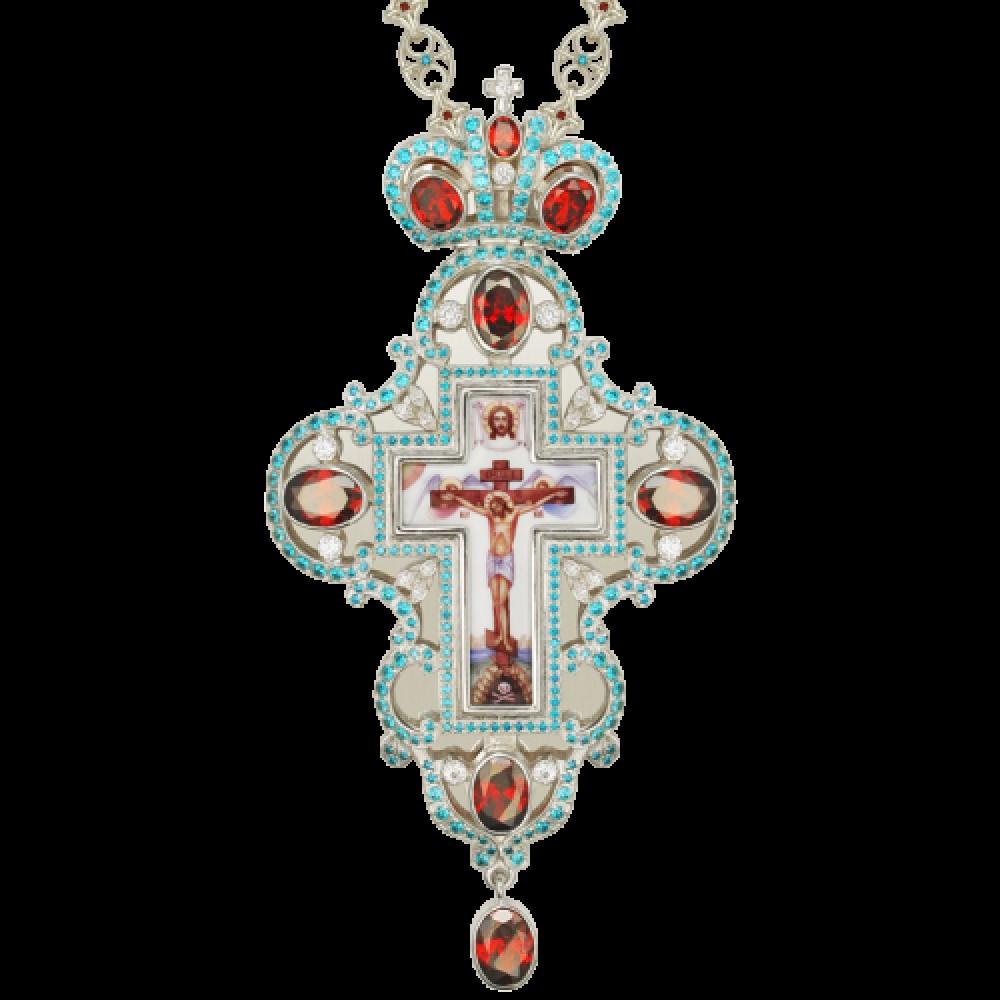 Крест наперсный серебряный с финифтьевым распятием 2.10.0100-1
