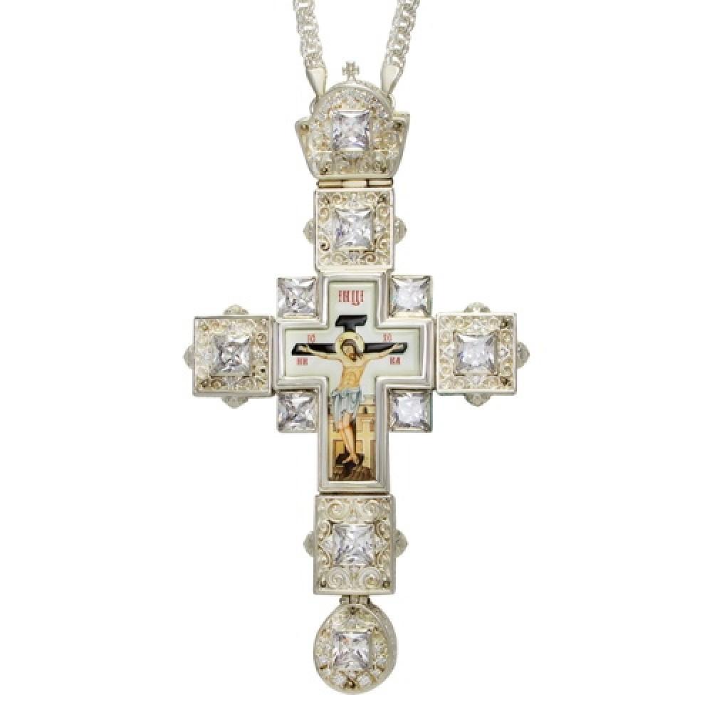Крест латунный с принтом и цепью 2.10.0155Л-21Л