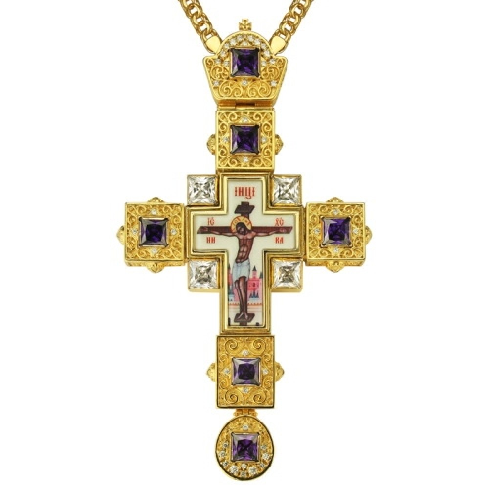 Крест латунный в позолоте со вставками и принтом 2.10.0155ЛП-2