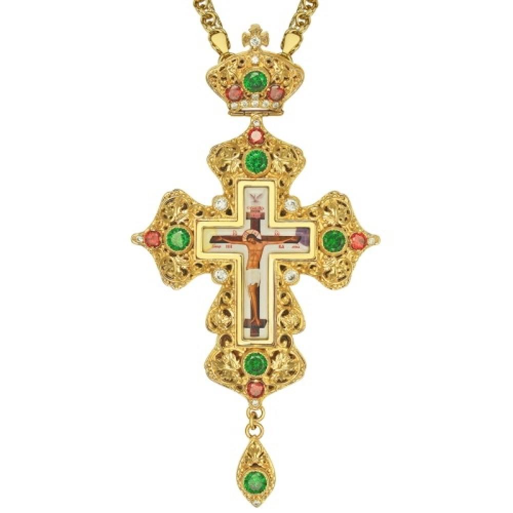Крест наперсный латунный с украшениями 2.10.0163ЛП-21ЛП