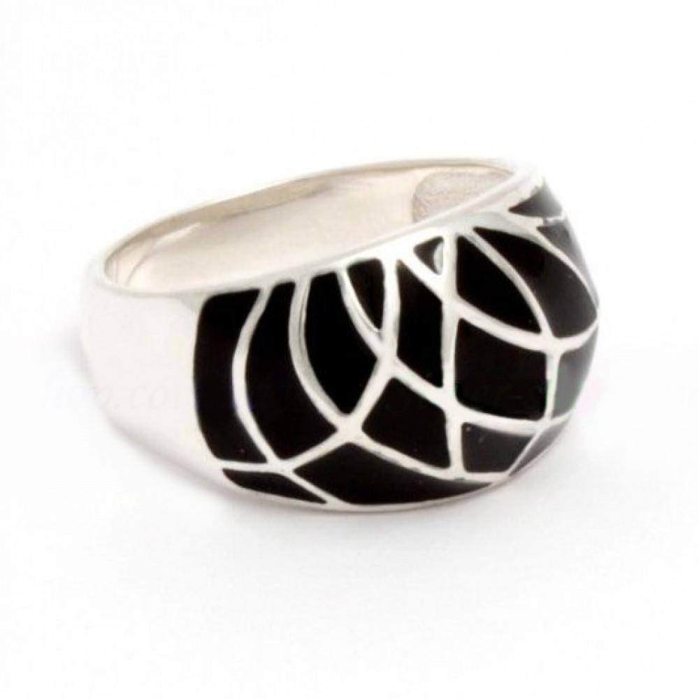Серебряное кольцо с эмалью бр-00456