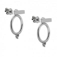 Серебряные серьги- джекеты ЮМ-20395