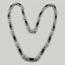Серебряная цепь с ониксом Величие БР-5000641