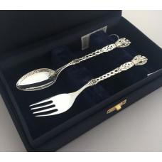 Набір дитячого срібного посуду Ангел Охоронець (ложка+виделка) БР-282434