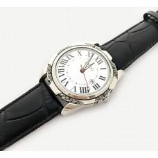 Серебряные мужские часы на кожаном ремешке БР-0005671