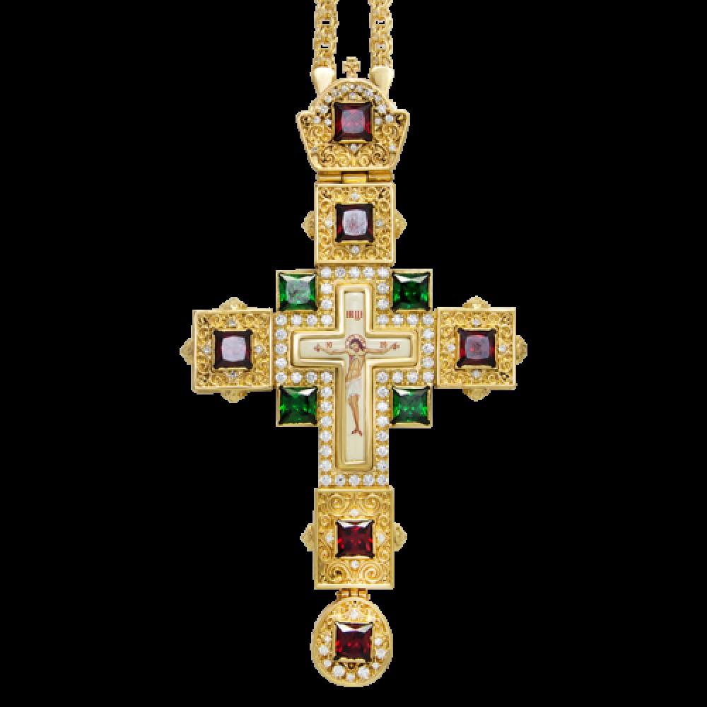 Крест наперсный латунный в позолоте с цепью 2.10.0099ЛП-21ЛП