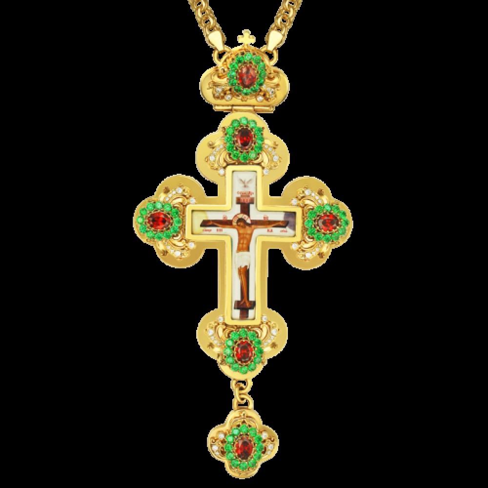 Крест латунный в позолоте с принтом и вставками 2.10.0132ЛП-2
