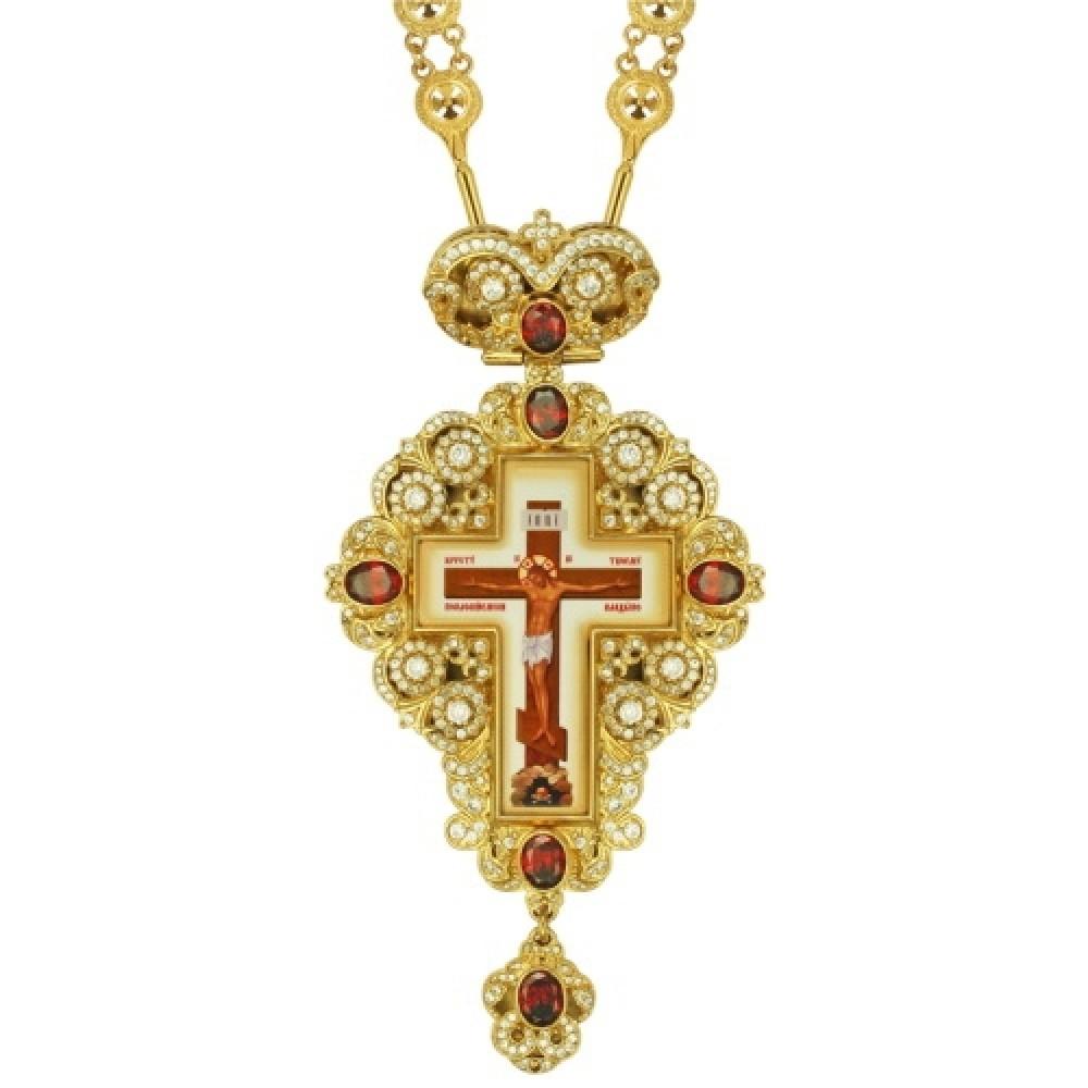 Крест латунный в позолоте со вставками и принтом 2.10.0149ЛП-2