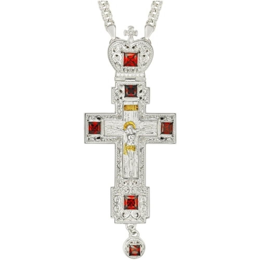 Крест латунный с принтом и цепью 2.10.0157Л1Л