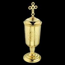 Чаша для елеопамазания серебряная с гравировкой в позолоте аг-2.7.0009П