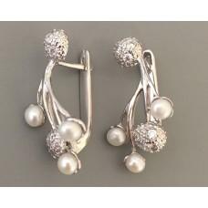 Срібні сережки с жемчугом Каштан бр-1170051