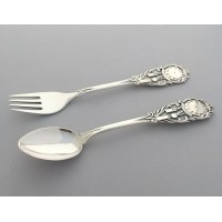 Набір дитячого срібного посуду Годинник (ложка+виделка) БР-435048