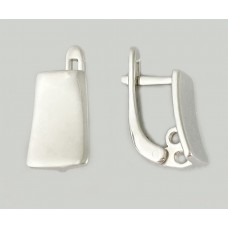 Серебряные родированые серьги без вставок ЛЗ-20004