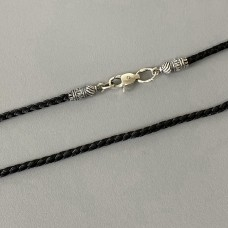 Шнурок ювелирный с серебряным замком Спаси и Сохрани БР-0035041