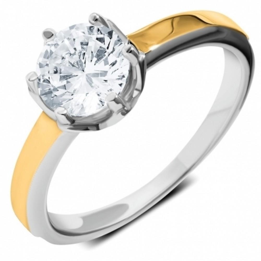 Серебряное кольцо с золотой накладкой ЛЗ-12047