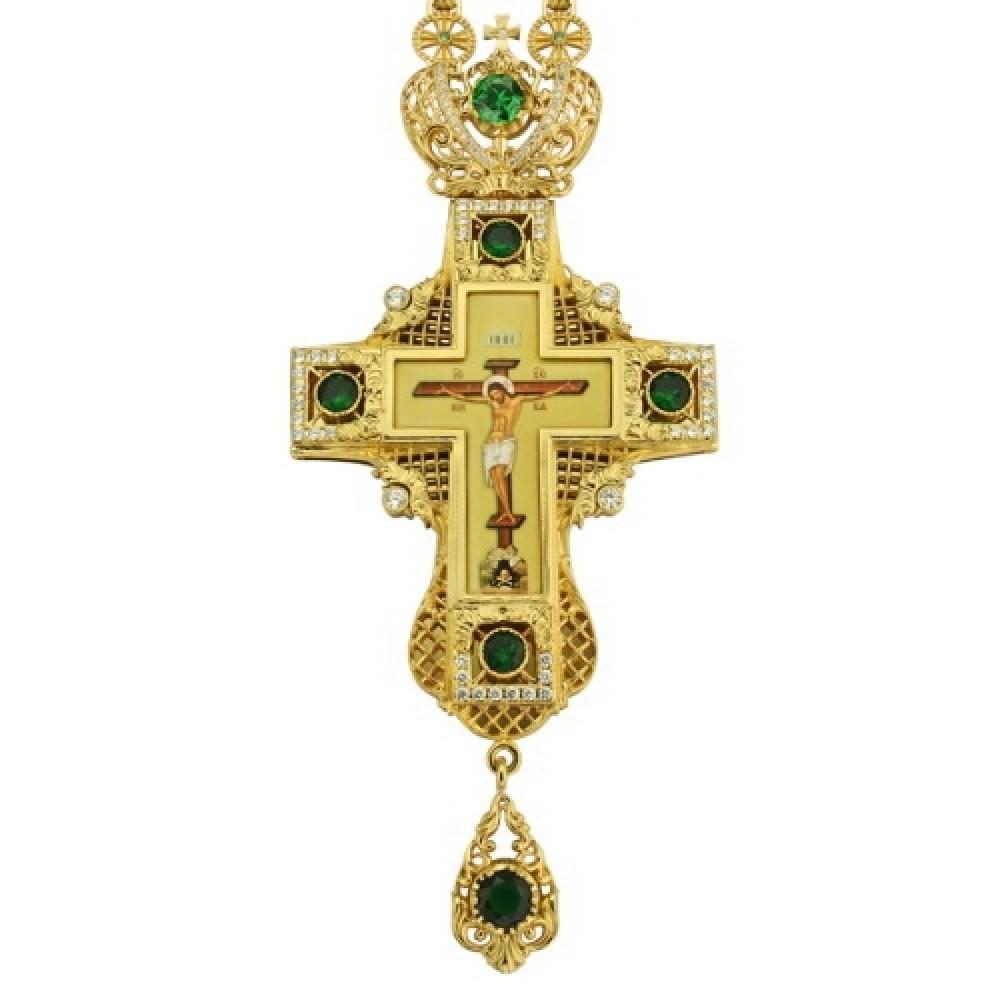 Крест наперсный латунный в позолоте с цепью 2.10.0035ЛП-249ЛП