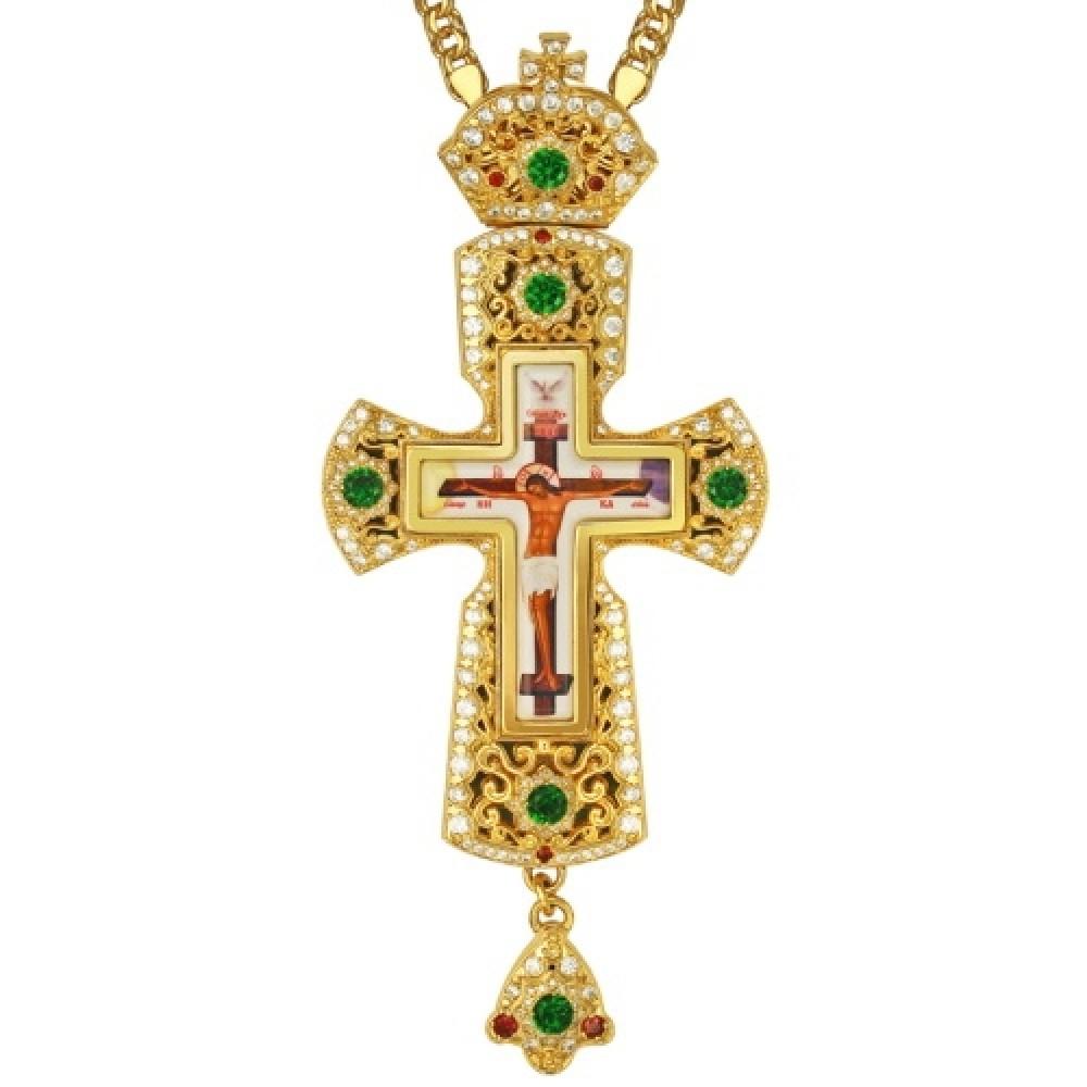 Крест латунный в позолоте с принтом и вставками 2.10.0159ЛП-2