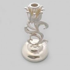 Подсвечник латунный посеребренный Роза бр-0030183