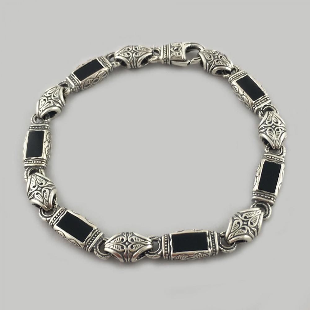 Срібний браслет унисекс з оніксом Велич БР-5004151