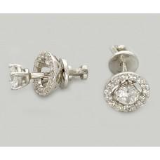Серебряные родированые серьги джекеты 2в1 ЛЗ-29050
