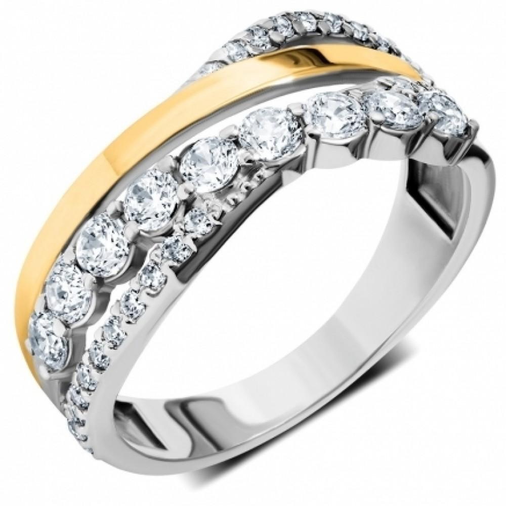 Серебряное кольцо с золотой накладкой ЛЗ-12041