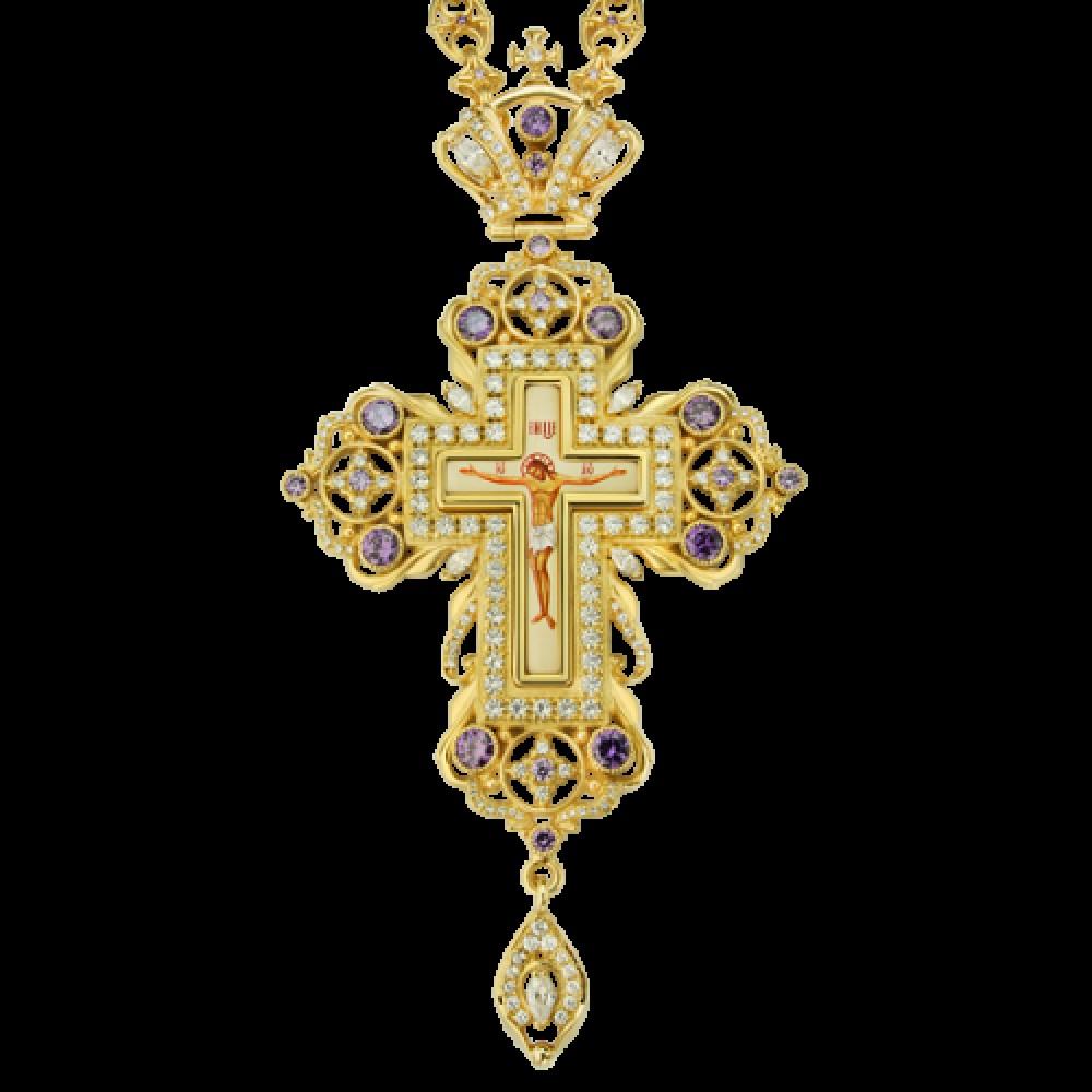 Крест наперсный латунный в позолоте с цепью 2.10.0093ЛП-244ЛП