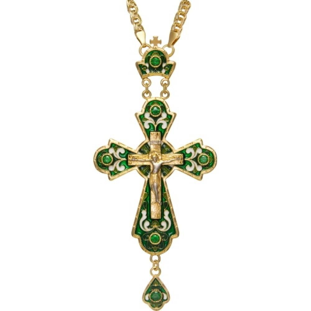 Крест латунный в позолоте со вставками и эмалью с цепью 2.10.0145ЛП1ЛП