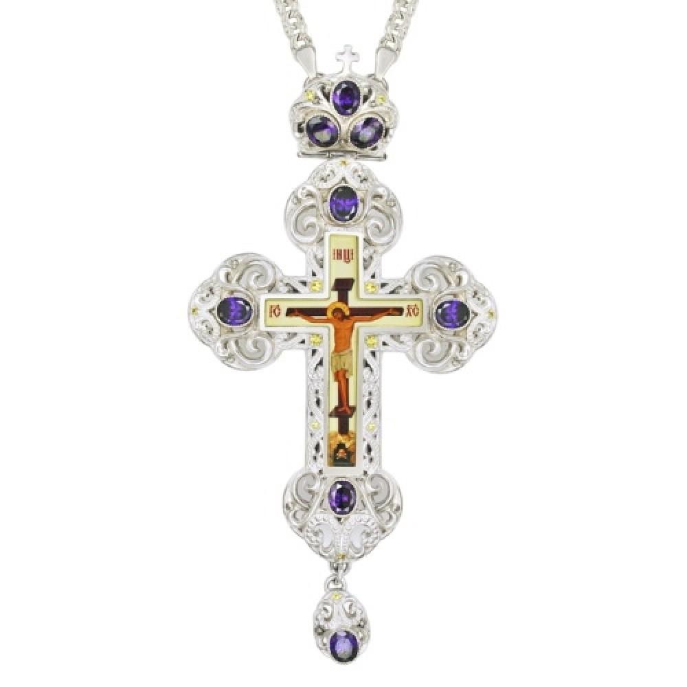 Крест латунный со вставками и принтом 2.10.0147Л-2
