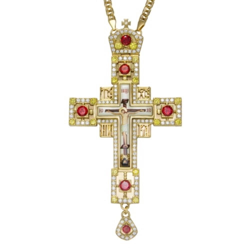 Крест латунный в позолоте с принтом и цепью 2.10.0148ЛП-21ЛП