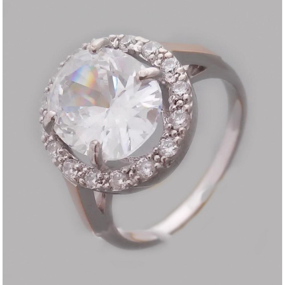 Серебряное кольцо с золотой накладкой бр-2113571
