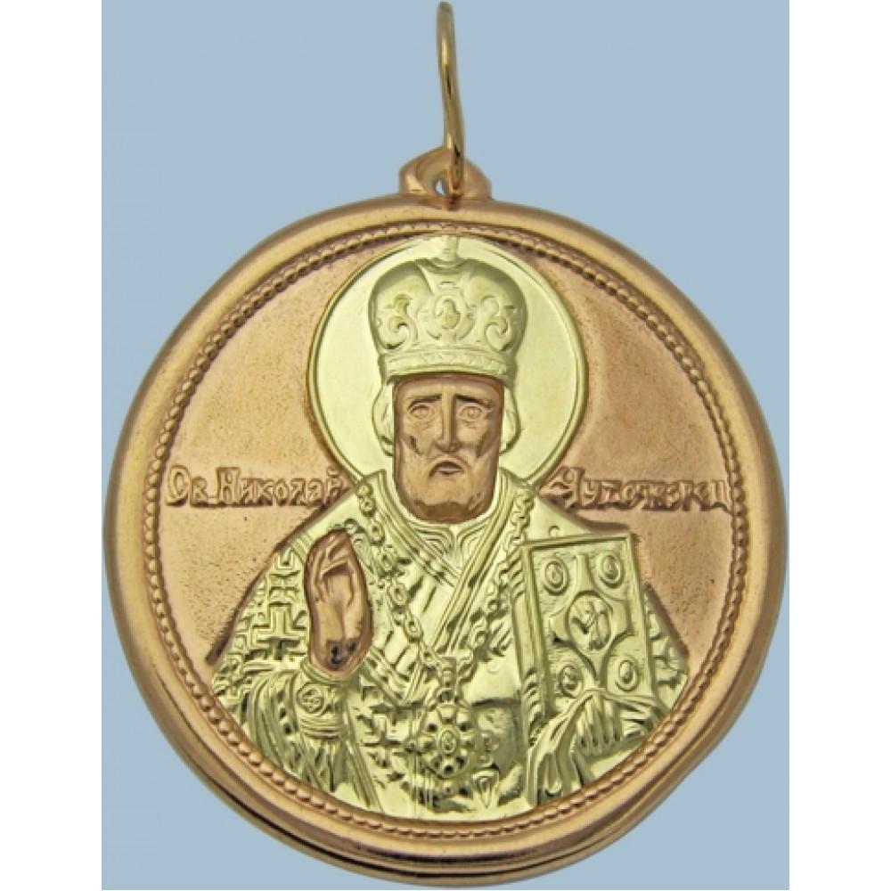 """Золотая ладанка """"Николай Чудотворец"""" шк-3224-1"""