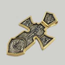 Серебряный крест Архангел Михаил с позолотой ЛЗ-3609-1
