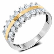 Срібна каблучка з золотою накладкою ЛЗ-12032