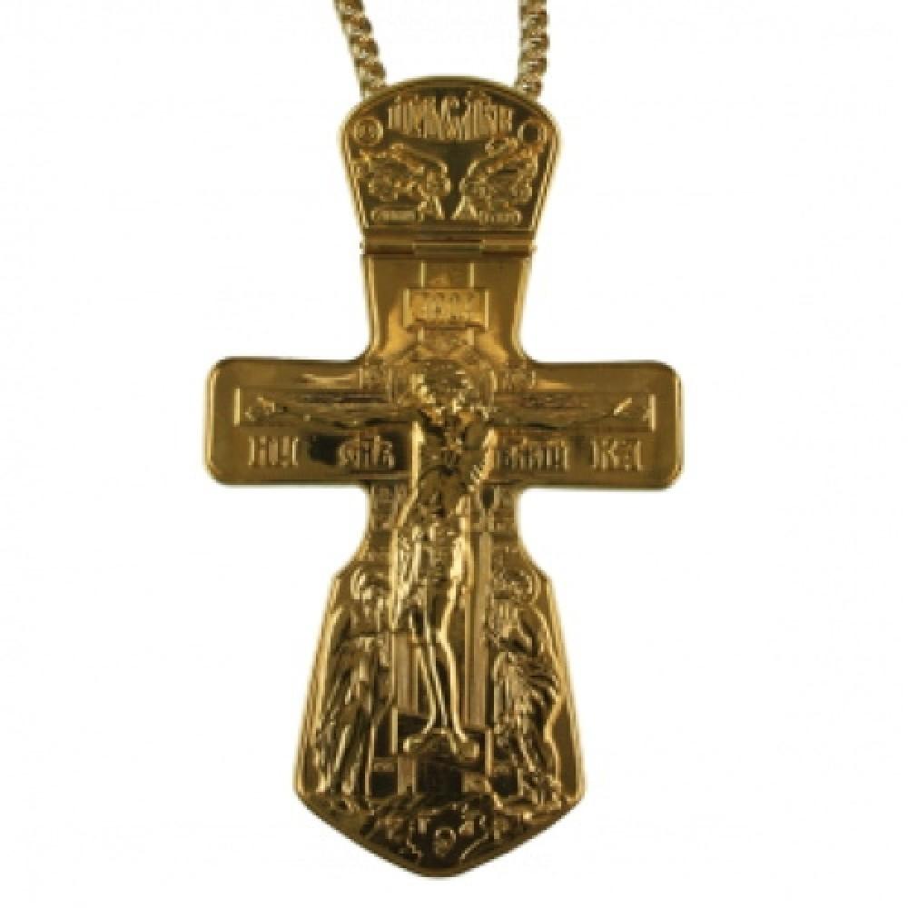"""Крест """"Голгофа"""" латунный в позолоте с цепью 2.10.0022ЛП1ЛП"""