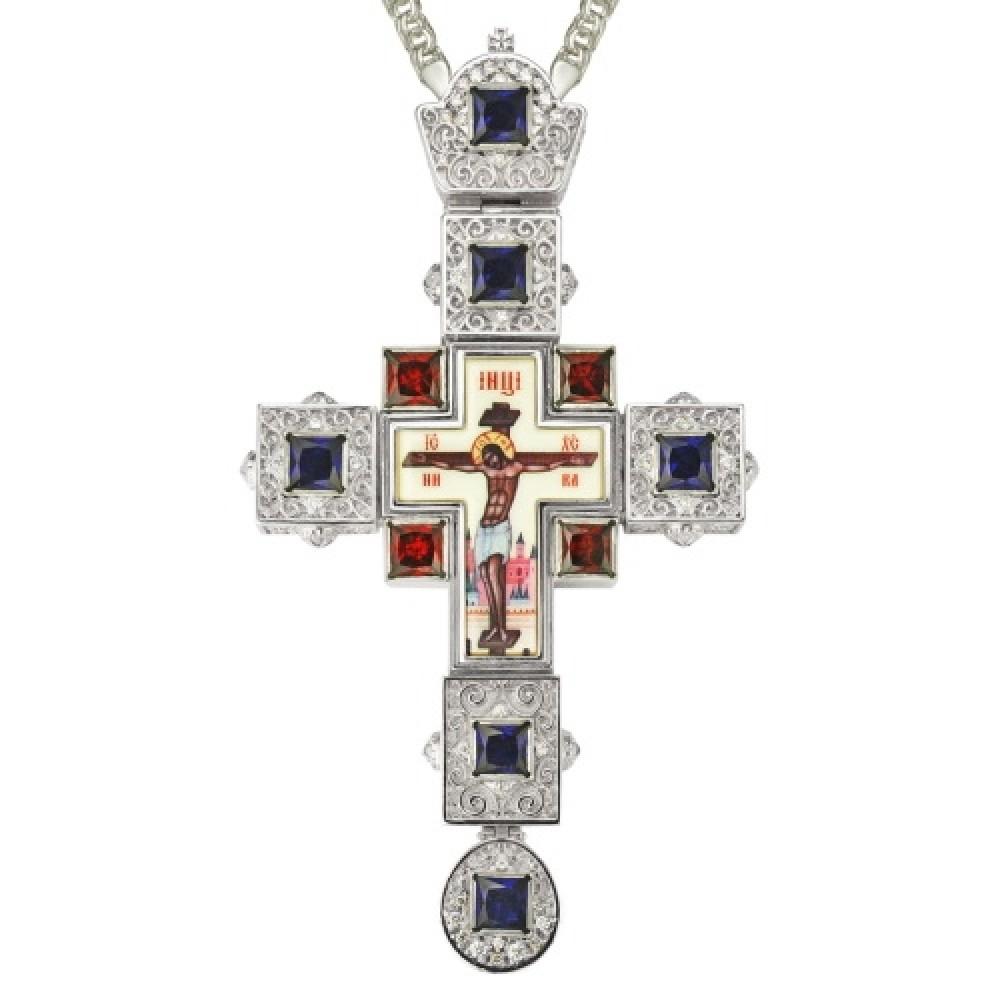 Крест латунный со вставками и принтом 2.10.0155Л-2
