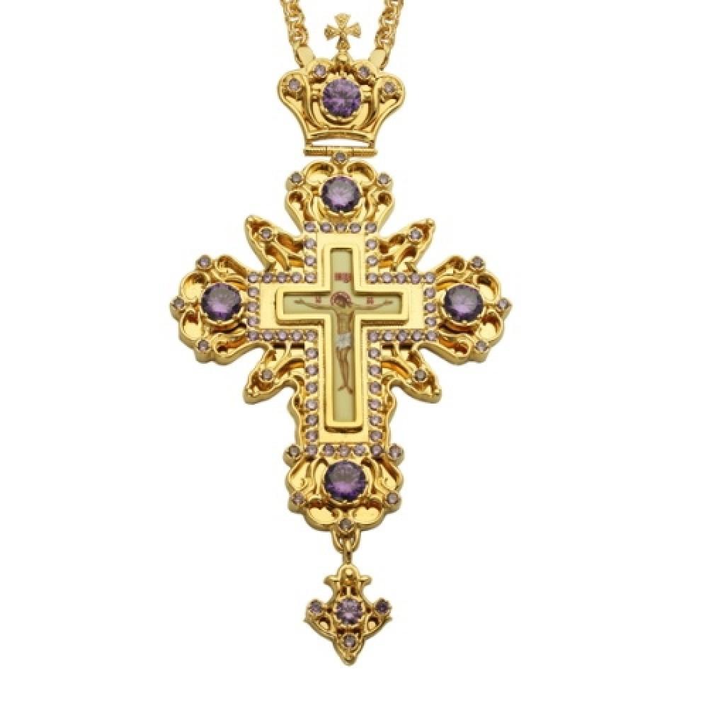 Крест наперсный латунный с цепью 2.10.0024ЛП-21ЛП