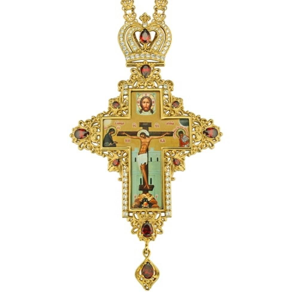 Крест наперсный латунный в позолоте с цепью 2.10.0078ЛП-241ЛП
