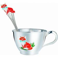 Набір дитячого срібного посуду Кошеня (ложка+чашка) ХЮ-080544/080460