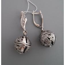 "Серебряные серьги ""Шар"" бр-1100199"