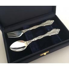Набір дитячого срібного посуду Колосок (ложка+виделка) БР-177054