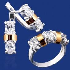 Срібний гарнітур з золотом бц-029