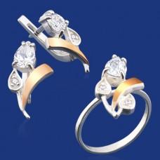 Срібний гарнітур з золотом бц-040