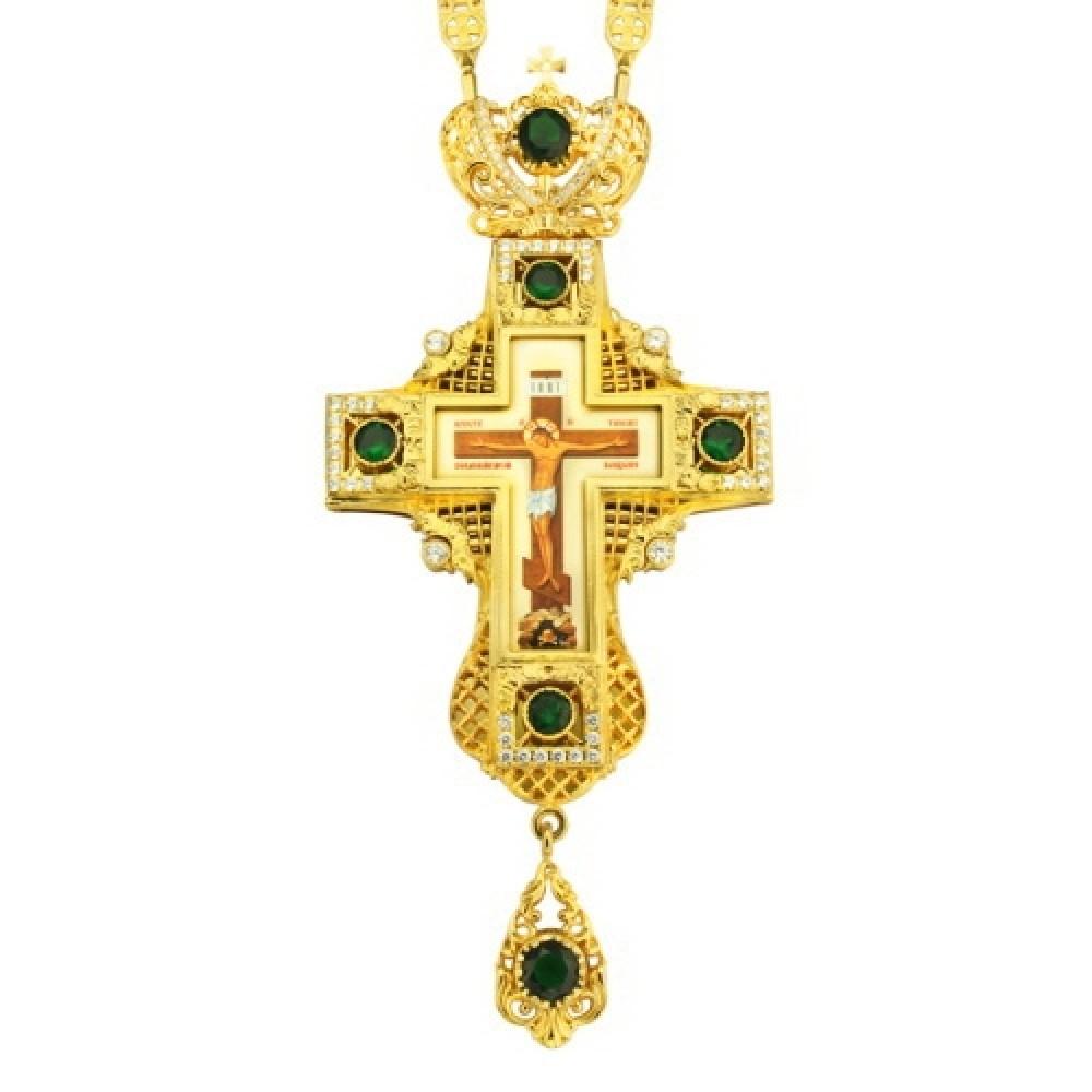 Крест наперсный латунный с цепью 2.10.0035ЛП-239ЛП