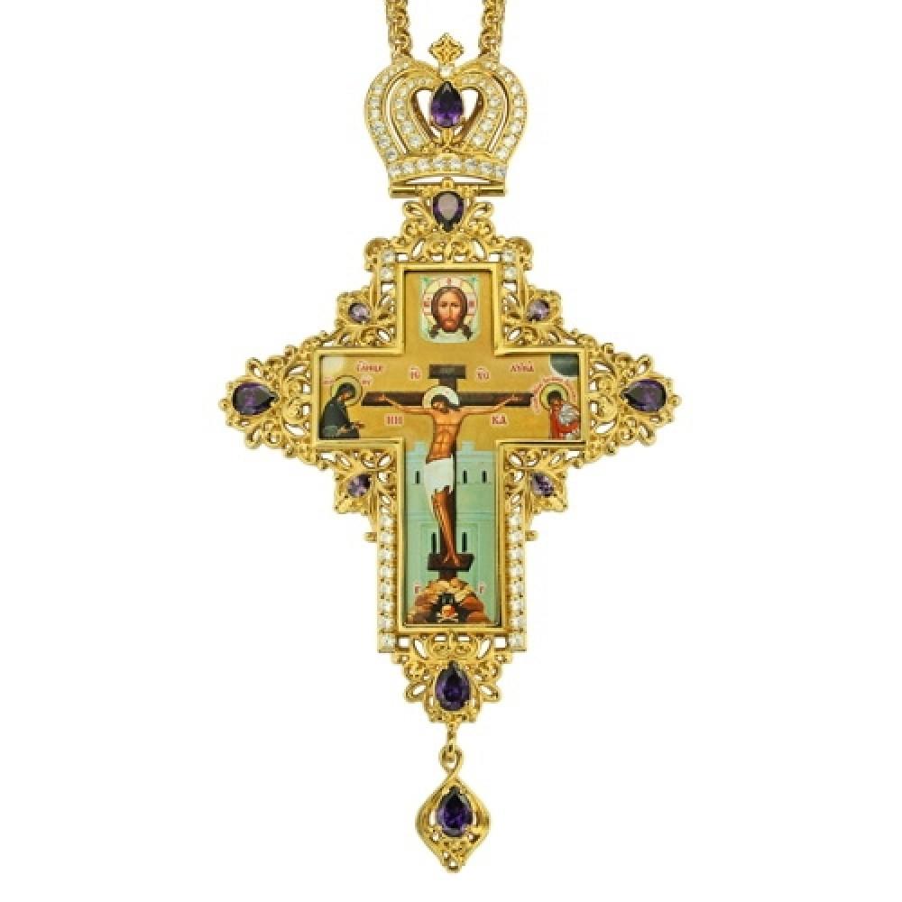 Крест наперсный латунный в позолоте с цепью 2.10.0078ЛП-21ЛП