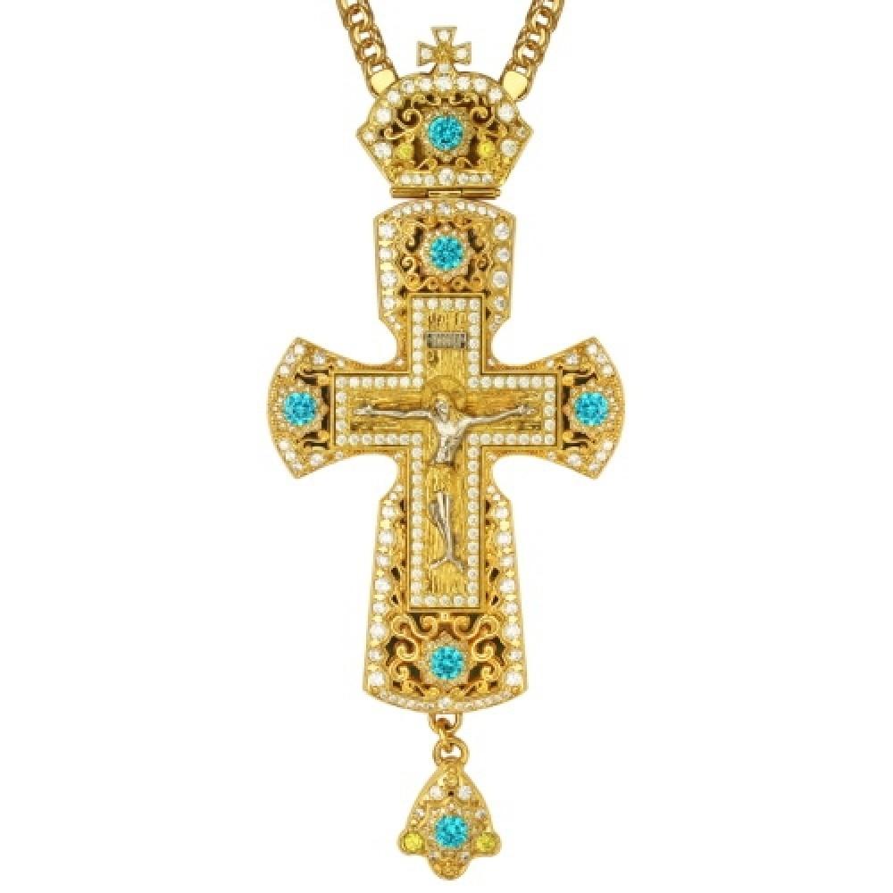 Крест латунный в позолоте с литьевым распятием 2.10.0159ЛП